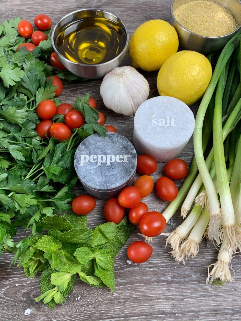 Vegan Tabbouleh Salad ingredients