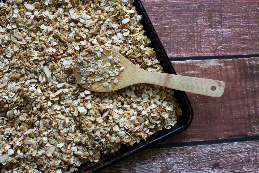 granola recipe going into oven