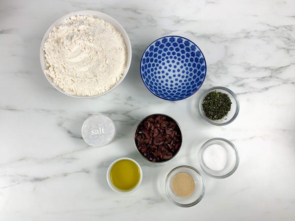 ingredients for kalamata olive and rosemary bread