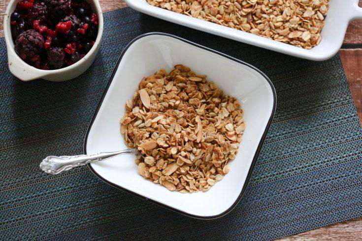 Vegan Granola recipe in white bowl