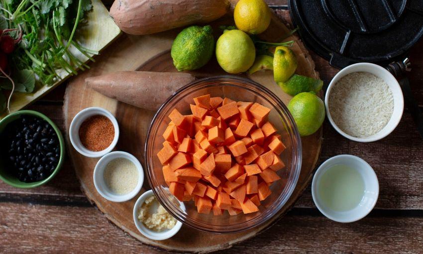ingredients to make sweet potato tacos