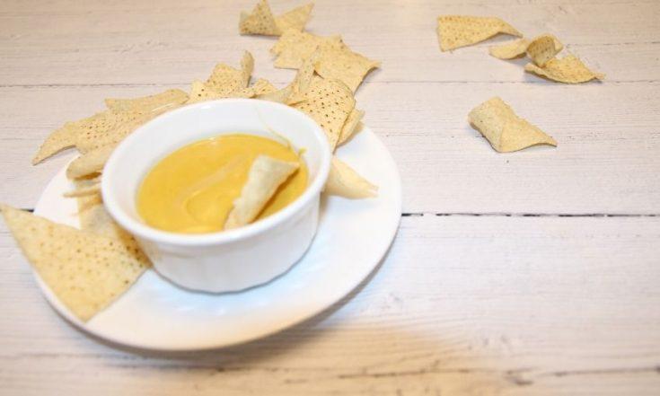 vegan queso dip in bowl